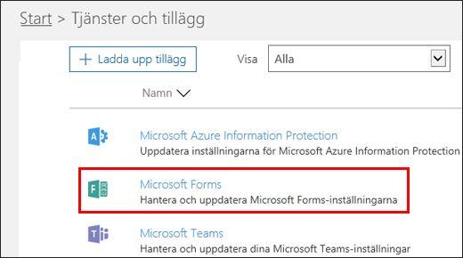 Administrationsinställningar i Microsoft Forms