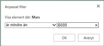 använda ett anpassat filter för att visa värden under ett visst kriterium
