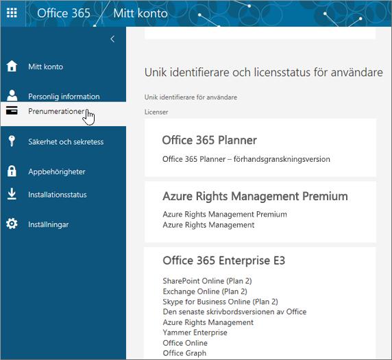 Sidan Office 365-prenumerationer
