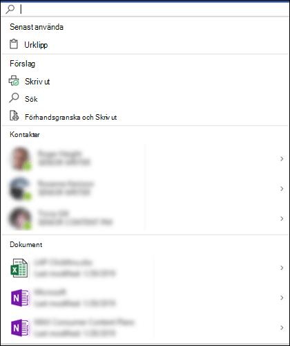 Microsoft Search-rutan markerad