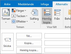 Om du vill aktivera rutan Hemlig kopia öppnar du ett nytt meddelande, väljer fliken Alternativ och väljer sedan Hemlig kopia i gruppen Visa fält.