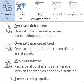 Tillgängliga översättningsverktyg i Office-program