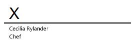 En signaturrad i Word med ett X som anger var signaturen ska skrivas