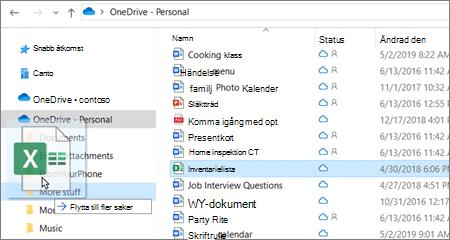 Bild av en fil som flyttas till en annan mapp i OneDrive.