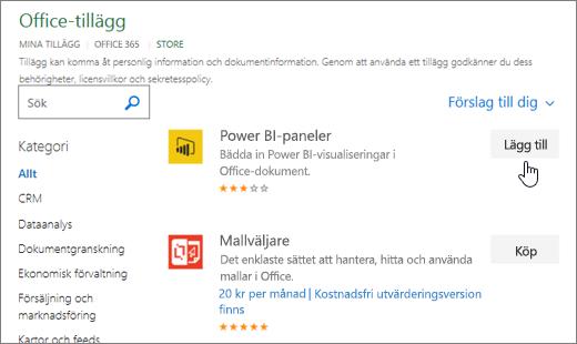 Skärmbild av sidan Office-tillägg där du kan markera eller Sök efter ett tilläggsprogram för Excel.