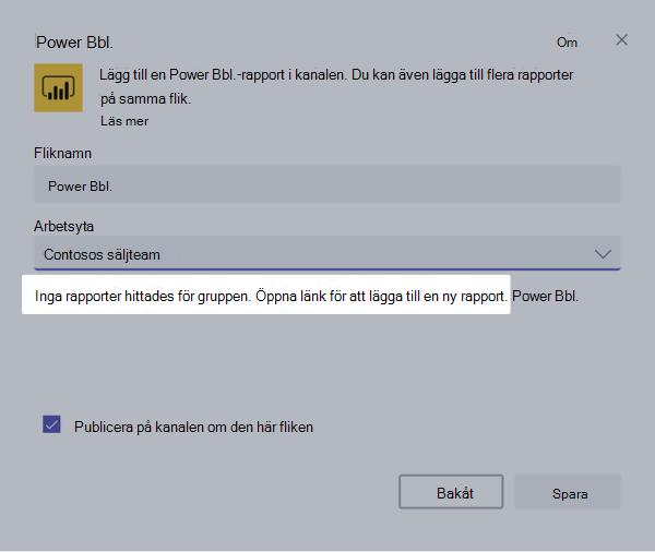 Dialog rutan inställningar för PowerBI flik