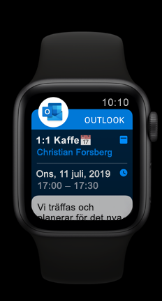 Apple Watch med kommande kalender avtalad tid i Outlook