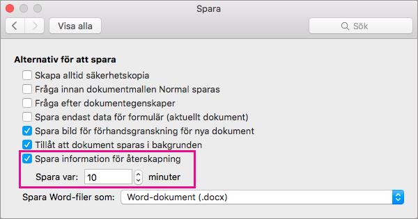 I dialogrutan Spara väljer du Spara information för automatiskt återskapande och anger sedan intervallet genom att ange minuter i rutan Spara var.