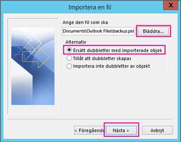 Välj den PST-fil som du vill importera.