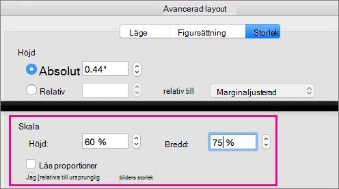 På fliken Storlek i rutan Avancerad layout är alternativet Skala markerat.