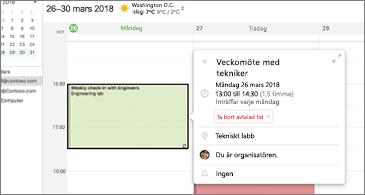 Återkommande möten till vänster och all relaterad information visas i händelsekortet