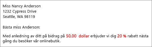 """Kopplat dokument lyder """"ditt bidrag på $ 50,00"""" och """"erbjuda dig en rabatt på 20%""""."""