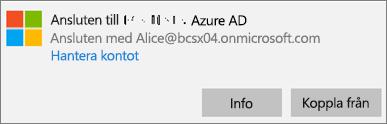 Klicka eller tryck på Info i dialogrutan för anslutning till Azure AD.