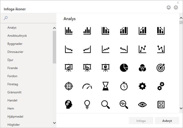 Du kan välja att infoga en ikon från ikonbiblioteket i Office