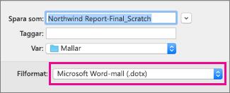Word-mall är markerat i rutan Spara som