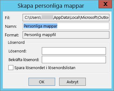 Välj OK om du inte vill lösenordsskydda PST-filen.