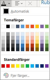 Skärmbild av alternativet Teckenfärg på Start-menyn.
