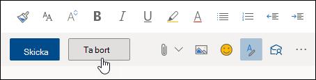 En skärmbild av knappen Släng