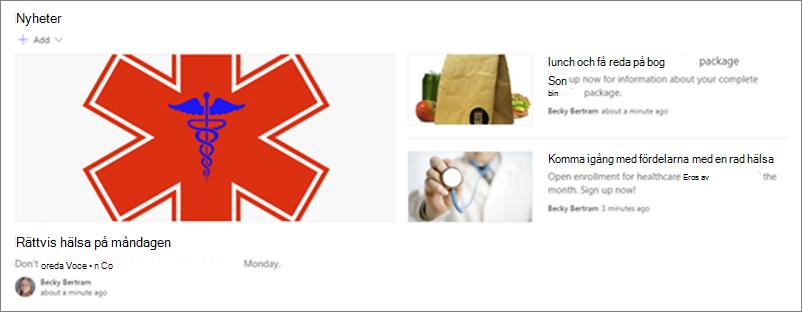 Exempel på en avdelnings kommunikations webbplats