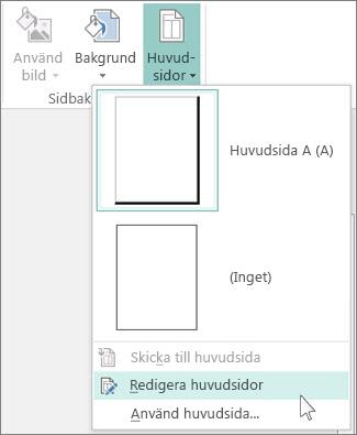 Skärmdump på listrutan Redigera huvudsidor i Publisher.