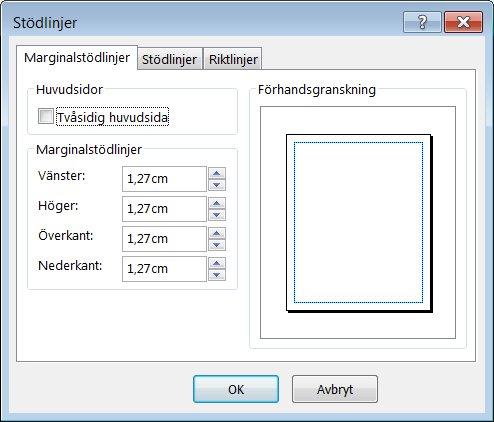 Dialogrutan Stödlinjer i Publisher