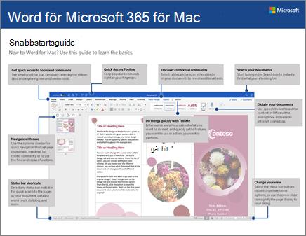 Snabbstartsguide för Word 2016 för Mac