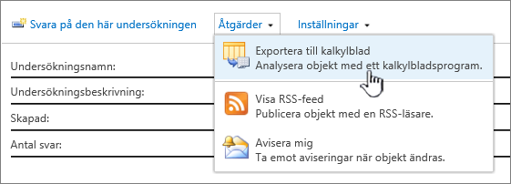Knapp för export av undersökning till kalkylblad markerad