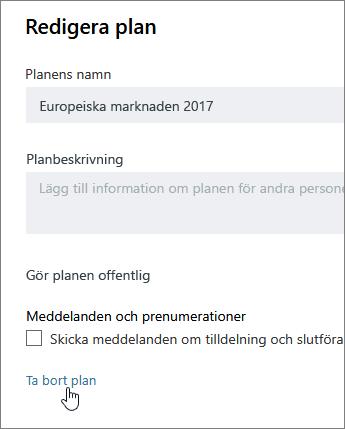 Redigera en plan från klickar du på Radera plan