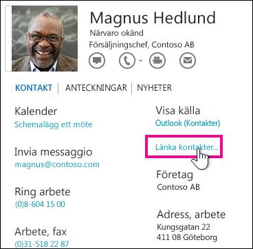 Knappen Länka kontakter i kontaktkortet