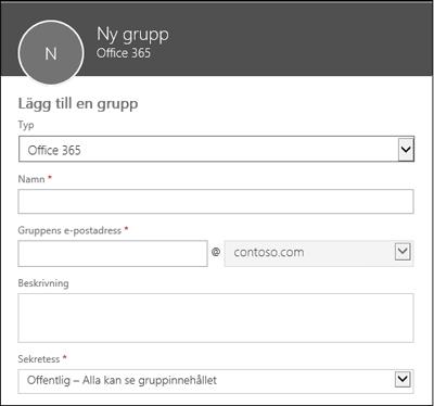 Skapa en ny Office 365-grupp, en ny distributionslista eller en ny säkerhetsgrupp