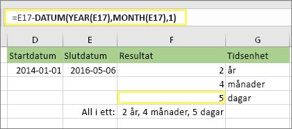"""=DATEDIF(D17;E17;""""md"""") och resultat: 5"""