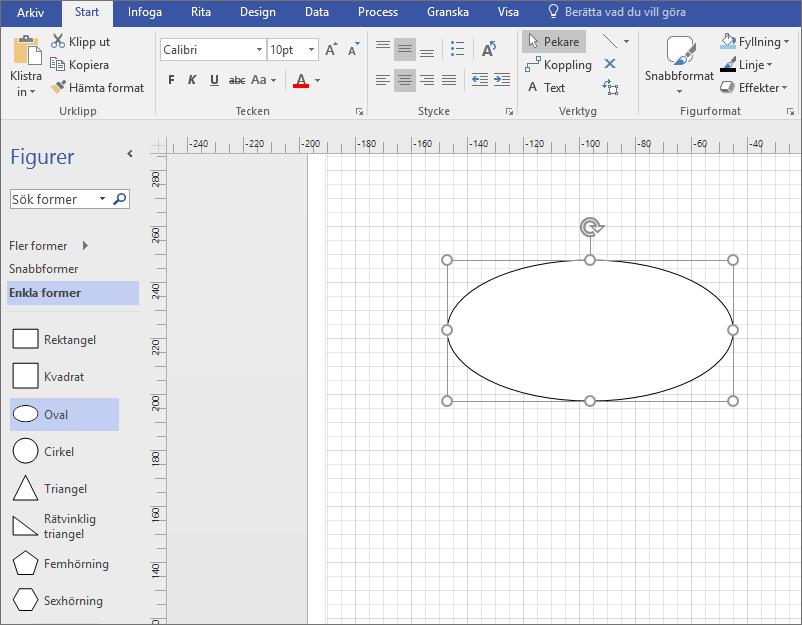Dra en form från stencilen Standardfigurer till ritningssidan.