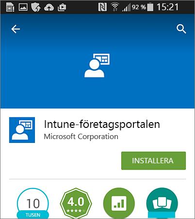 Installera Intune-företagsporta på Android