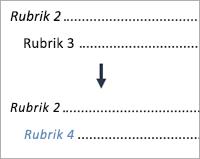 Visar ändring av en nivå 3-post till en nivå 4-post