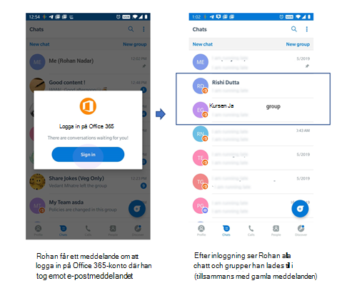 Bilder av telefon gränssnitt för att ta emot chatt och grupper från en användare som tidigare inte fanns på Kaizala.