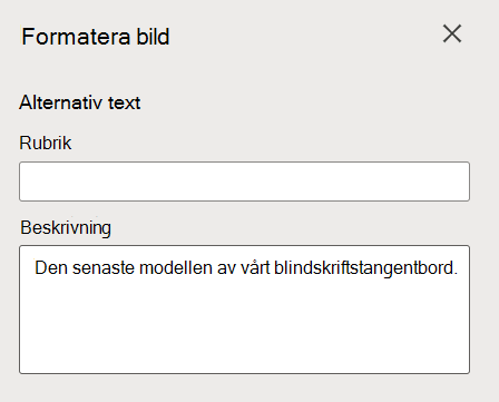Fönstret Formatera alternativtext för bilder i Word för webben.
