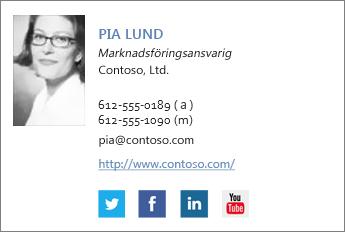 Exempel på e-postsignatur med Facebook- och Twitter-ikoner
