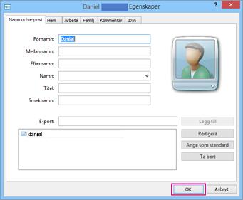 Välj OK för varje kontakt du vill importera till CSV-filen.