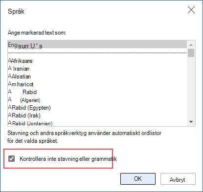 stänga av automatisk stavningskontroll
