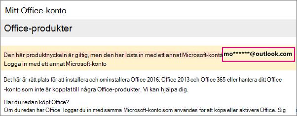 Sidan Mitt konto i Office som visar del av Microsoft-konto