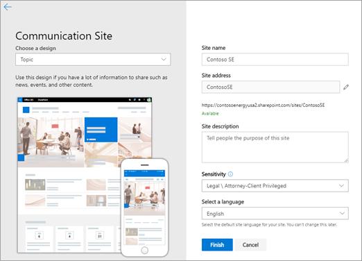Fylla i informationen för att skapa en kommunikations webbplats.