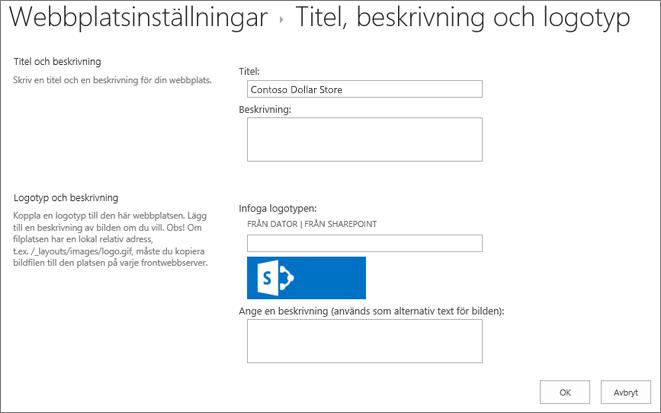 Inställningar för titel, beskrivning och logotyp