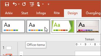 Skärmbild av Office-temat på fliken Design