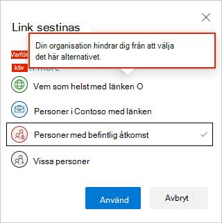 OneDrive-inställningar för webblänkar
