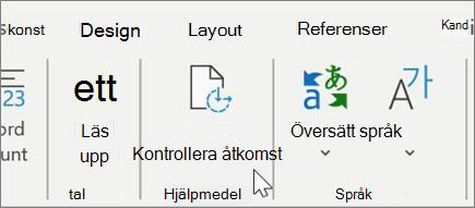 Kontrollera hjälpmedel i Word1