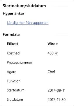 Exempel på formdata med en hyperlänk
