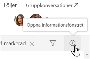 Skärmbild av informationsfönstret lista