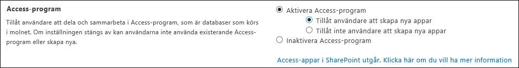 Skärmbild av Access-appinställningar sidan Administrationscenter för SharePoint