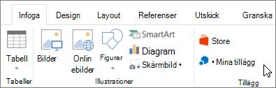 Skärmbild av en del av fliken Infoga i menyfliksområdet i Word med en markör som pekar på min Lägg till modulerna väljer du Mina tillägg komma åt tillägg för Word.