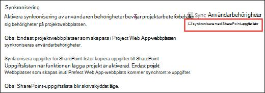 Synkronisera SharePoint-uppgiftslistor